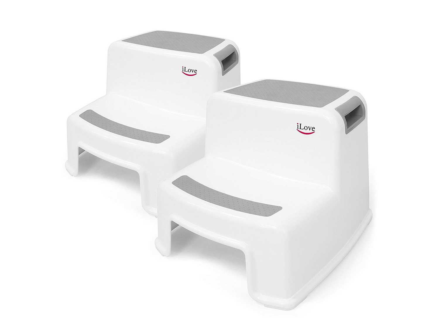 2 Step Stool for Kids (Gray 2 Pack)   Toddler Stool for Toilet Potty Training   Slip Resistant Soft Grip for Safety as Bathroom Potty Stool & Kitchen Step Stool   Dual Height & Wide Two Step