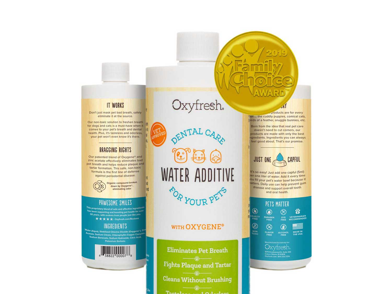 Oxyfresh Premium Pet Dental Care Solution: Best Way to Eliminate Bad Dog Breath & Cat Breath - Fights Tartar, Plaque & Gum Disease! - So Easy, just add to Water! Vet Recommended!