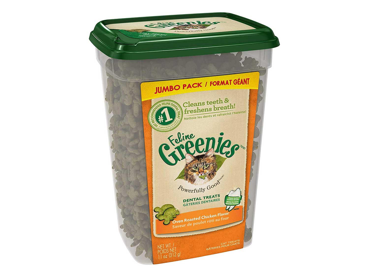 FELINE GREENIES Natural Dental Care Cat Treats, Chicken Flavor, All Bag Sizes