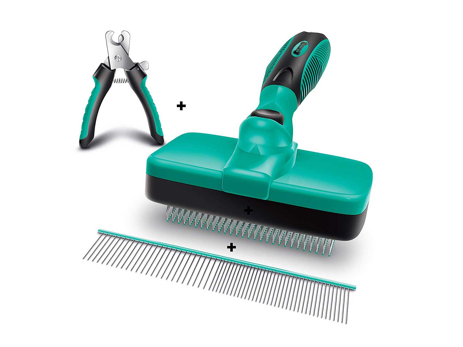 Ruff 'n Ruffus Self-Cleaning Slicker Brush + 2 Free Bonuses   Steel Comb + Pet Nail Clippers  Grooming Supplies Great for All Breeds & Hair Types