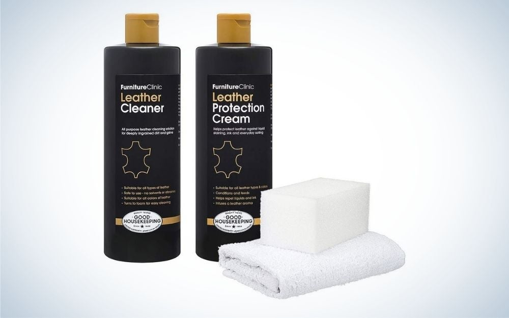 Furniture Clinic Large Leather Care Kit is the best sofa cleaner for leather.