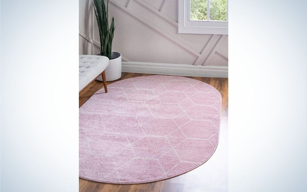 The Unique Loom Trellis Moroccan Geometric Modern Oval Rug is the best for small spaces.