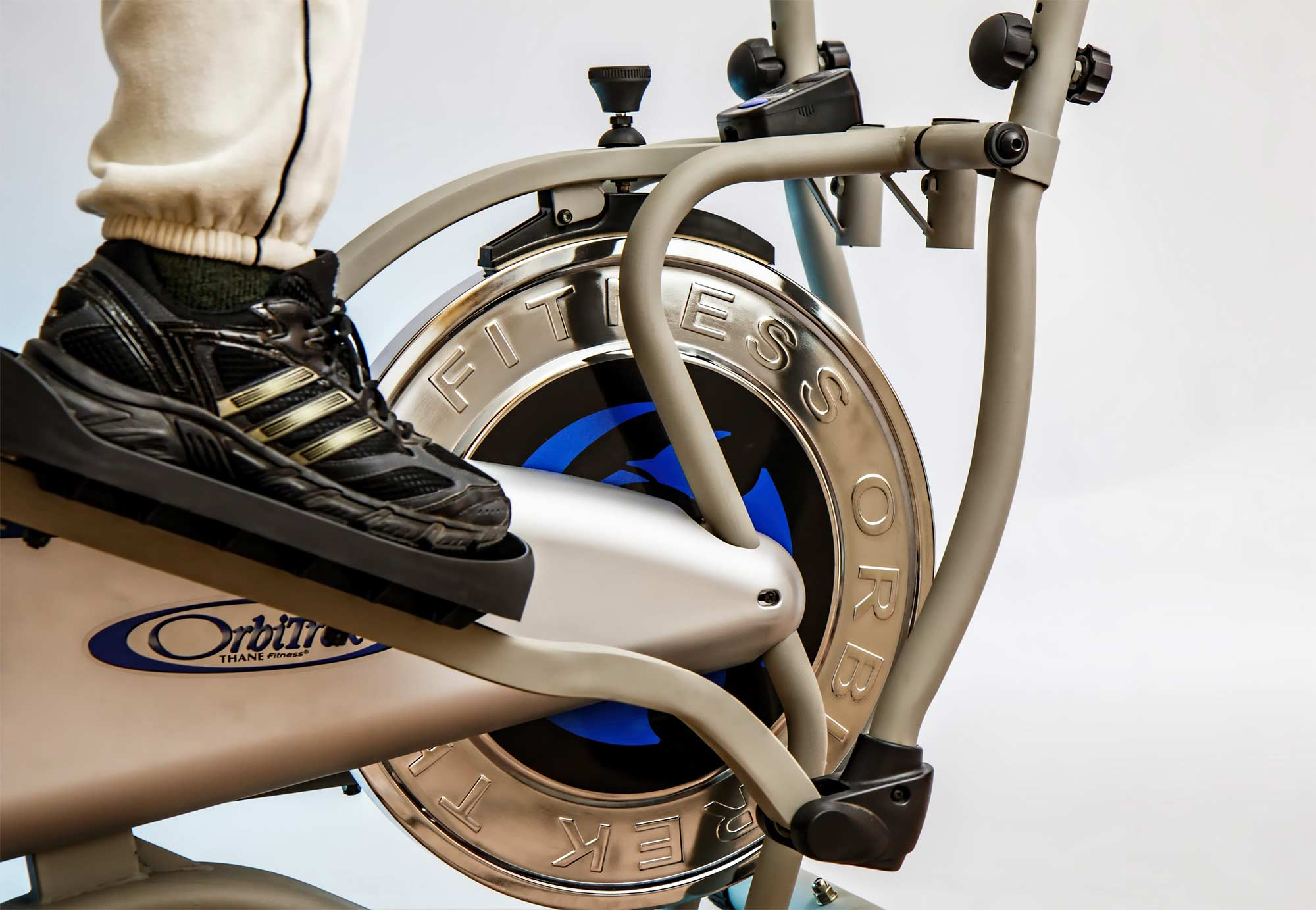 Close up of a someone riding a stationary bike