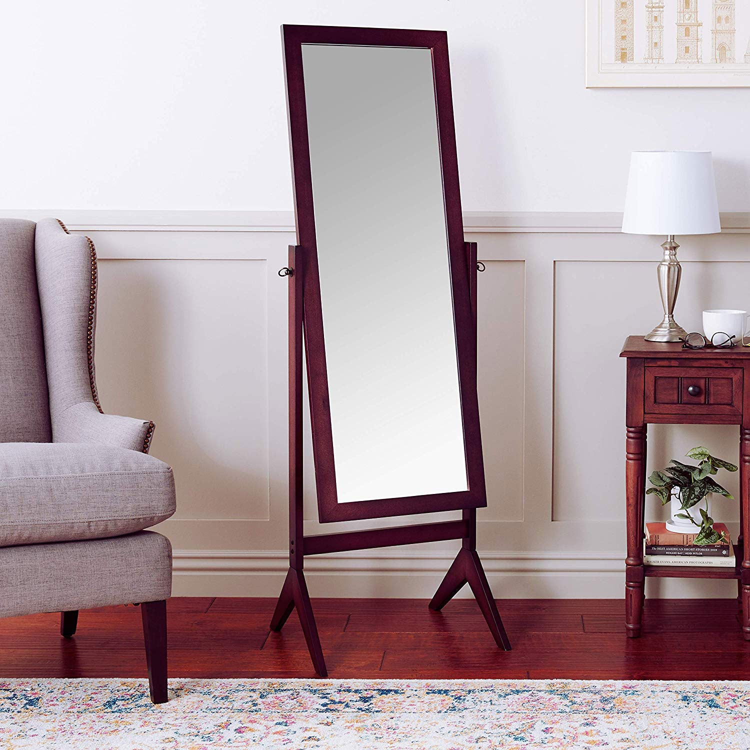 A large mirror in a bedroom.