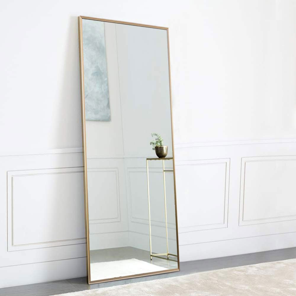 NeuType Full Length Mirror Standing Hanging or Leaning Against Wall, Large Rectangle Bedroom Mirror Floor Mirror Dressing Mirror Wall-Mounted Mirror, Aluminum Alloy Thin Frame, 65