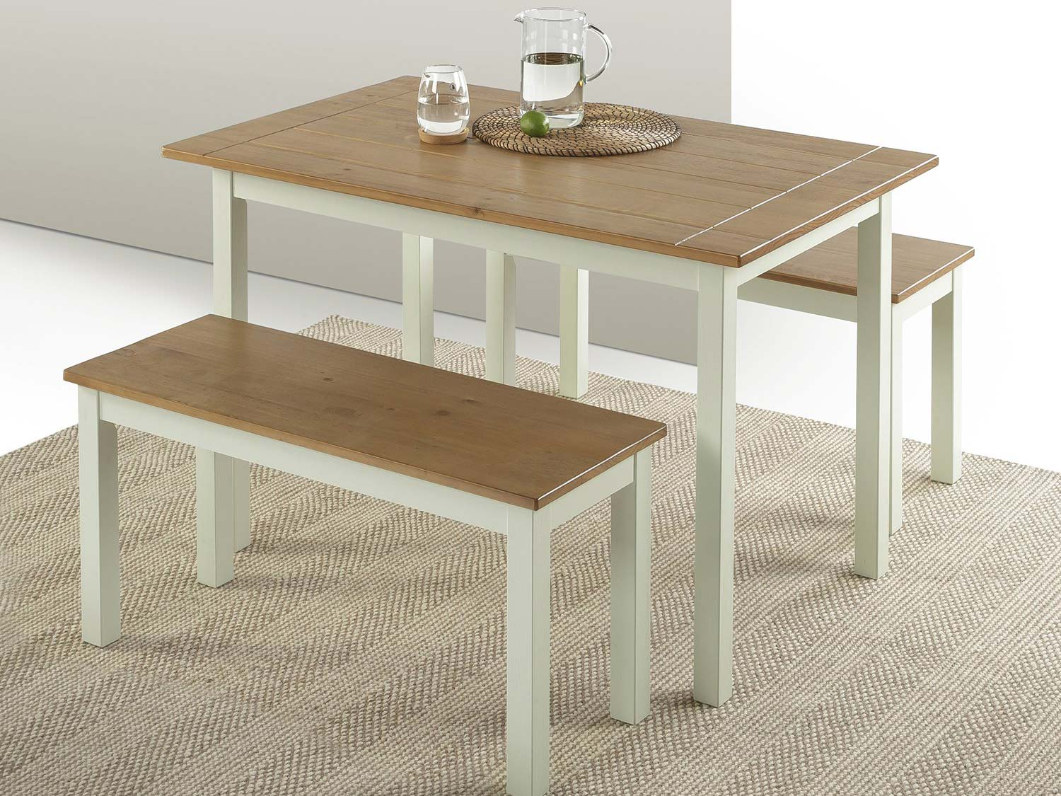 Zinus Becky Farmhouse Dining Table with Two Benches