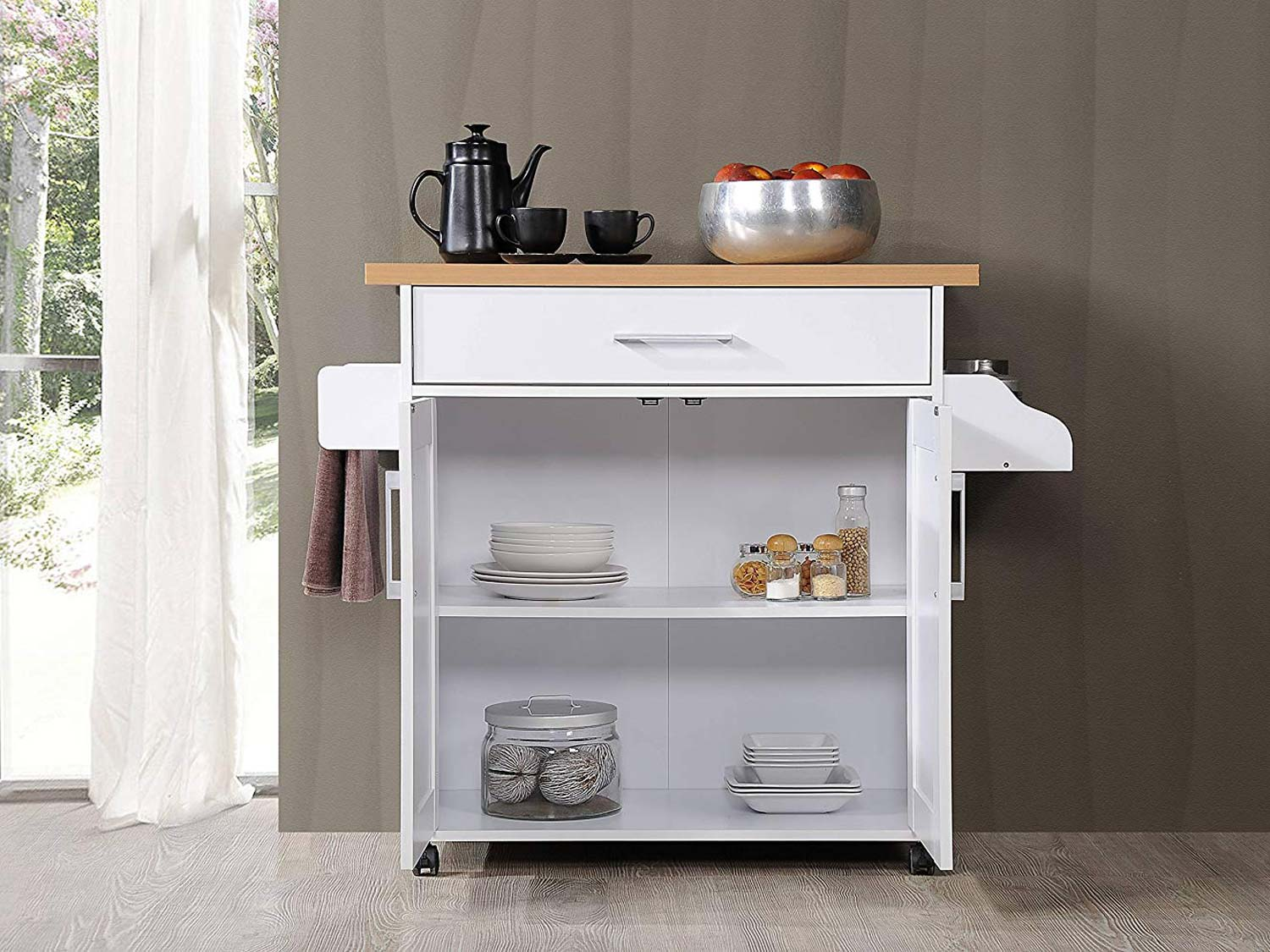 Hodedah Kitchen Island with Spice Rack, Towel Rack & Drawer, White with Beech Top