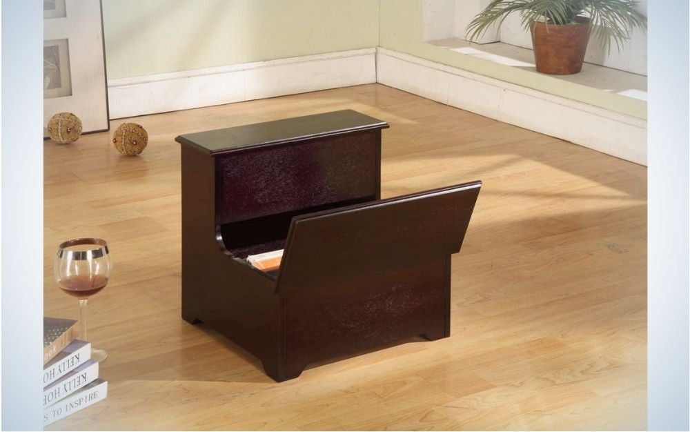 The King's Brand Cherry Finish Wood Bedroom Bed Storage Step Stool is the best stepping stool for storage.