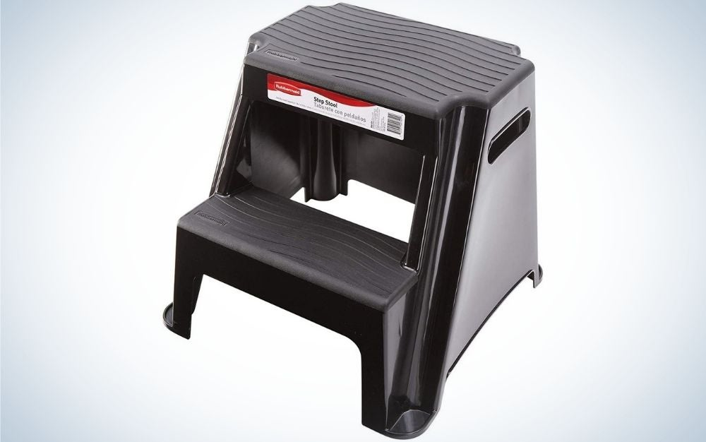 The Rubbermaid RM-P2 2-Step Molded Plastic Stool is the best plastic stepping stool.