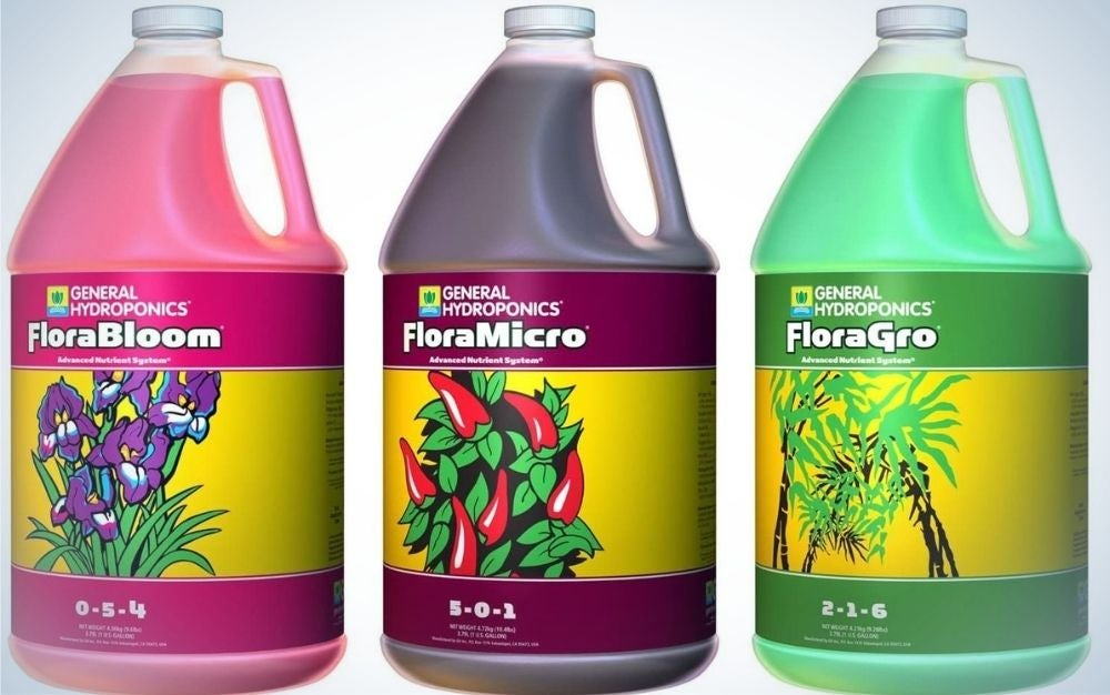 General Hydroponics Flora Grow, Bloom, and Micro Combination is the best multi-part fertilizer.