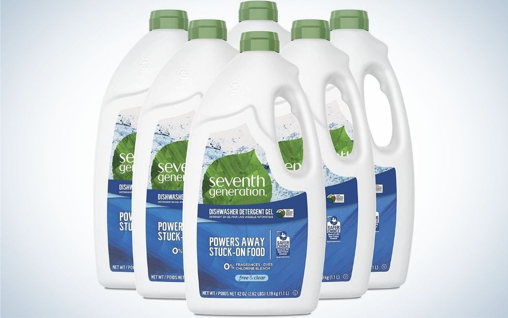 Six large white detergents with inscriptions lined up one after the other.