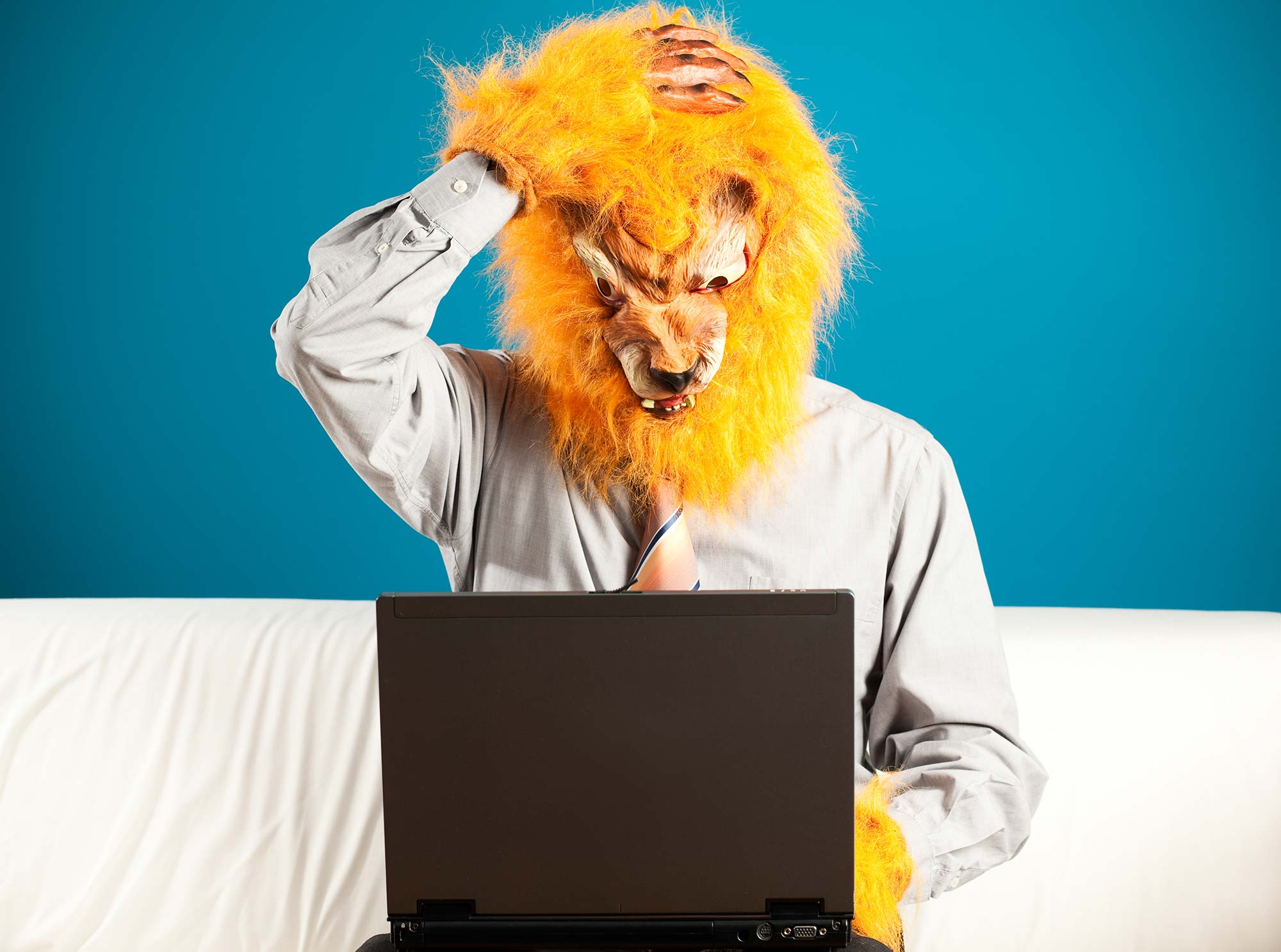 Man wearing lion mask looking at laptop