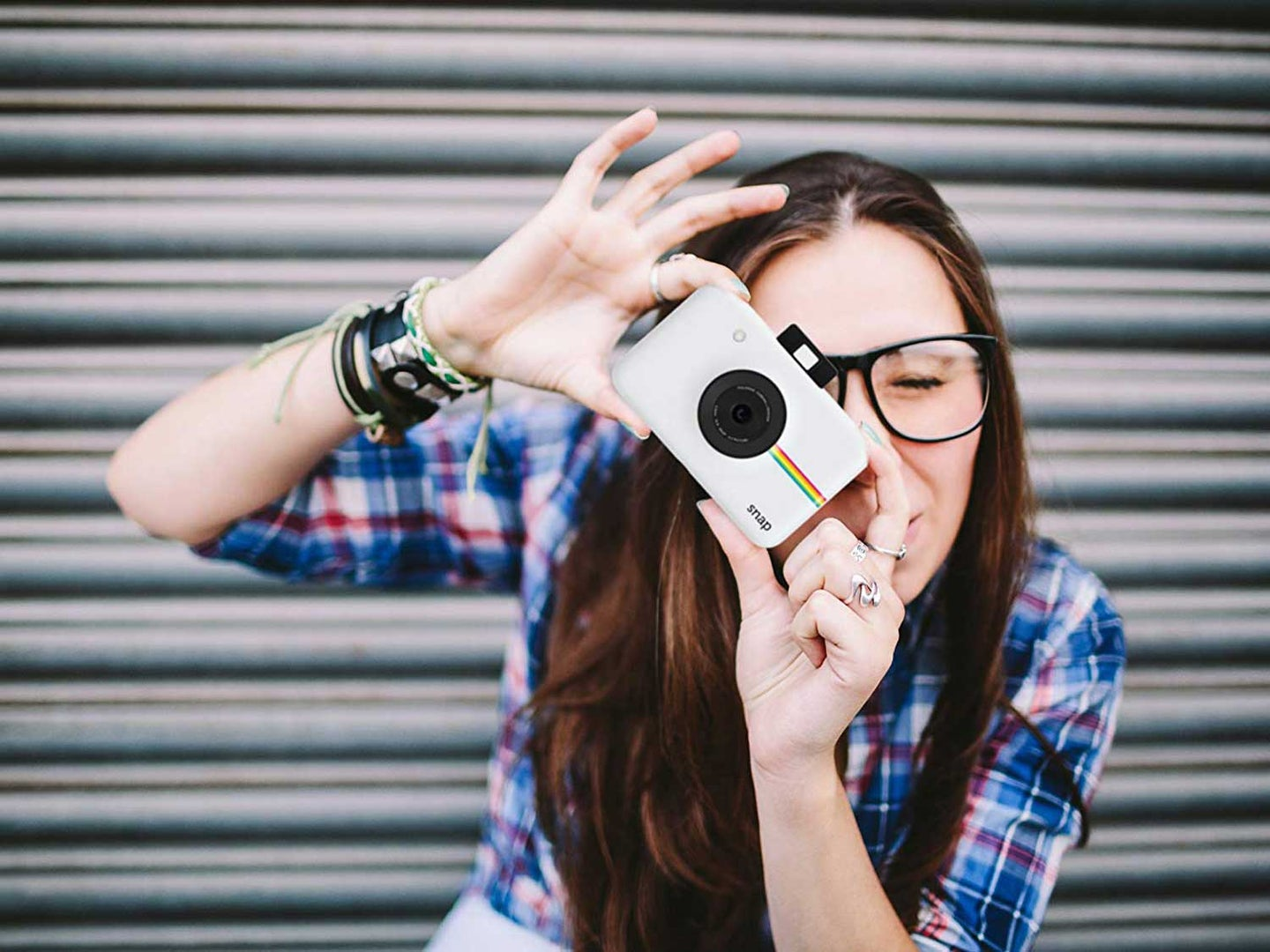 Taking picture with polaroid camera