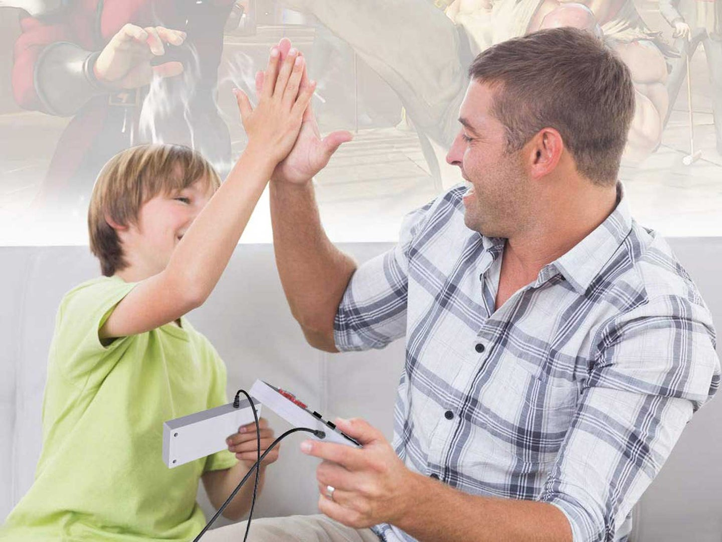 Man and boy play games
