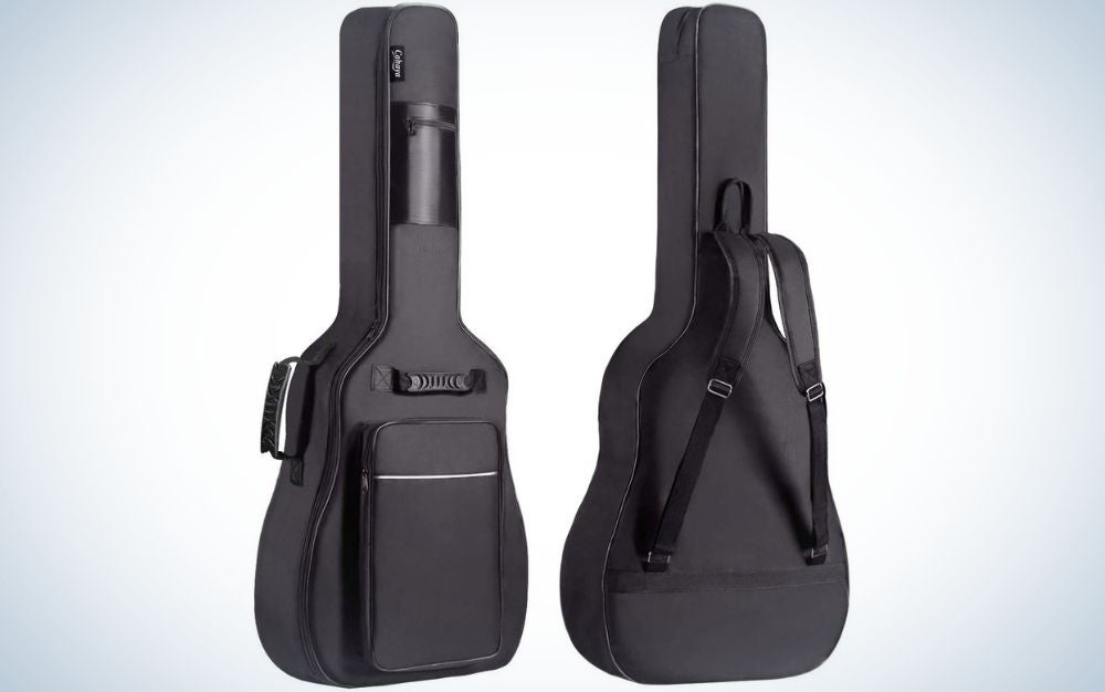 Two guitar bags of both complete black colors with two arms to hold.