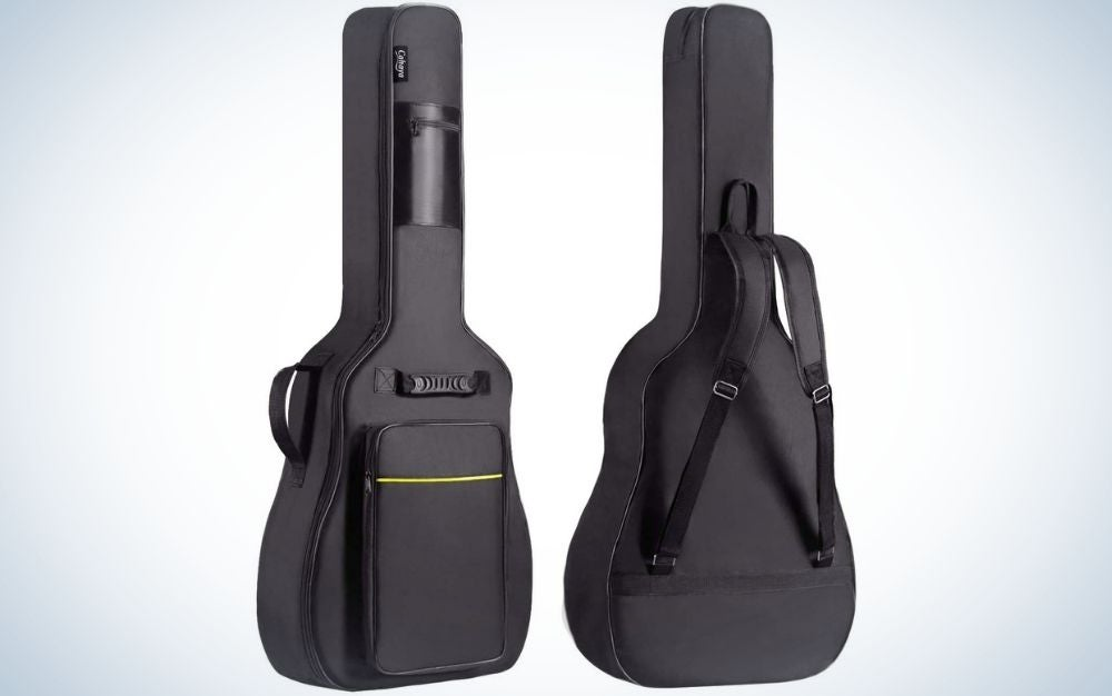 Two guitar bags of both colors complete black as well as with two arms to hold and in front of it a thin straight yellow line.