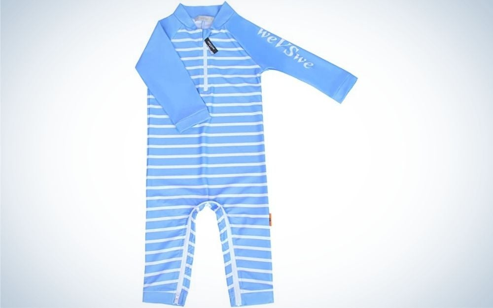 The weVSwe Baby Toddler Sun Protection Swimsuit is the best unisex toddler swimsuit.