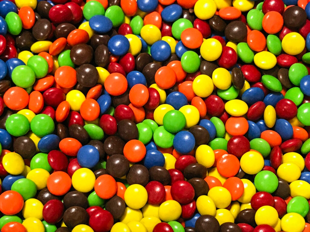 Colorful assortment of M&Ms