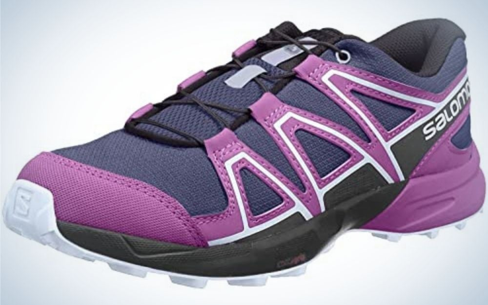 The Salomon Speedcross J Unisex Train Running Shoe is our pick for the best overall kids hiking shoe.