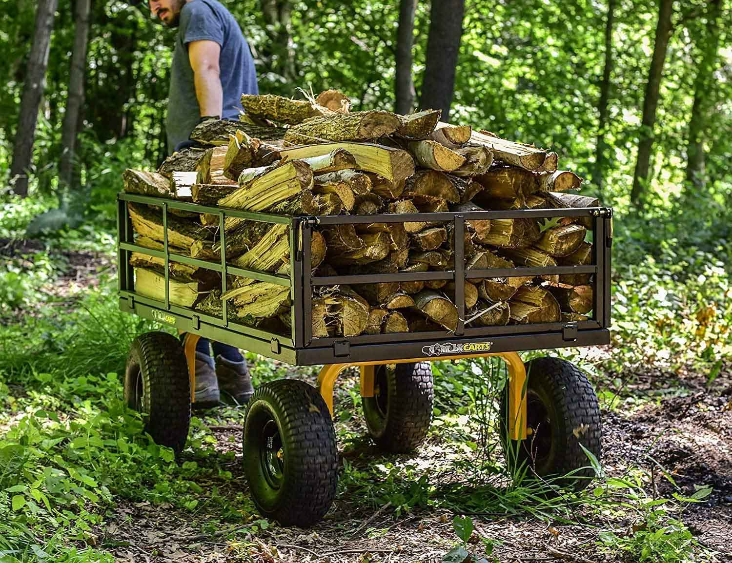 Utility cart filled with logs