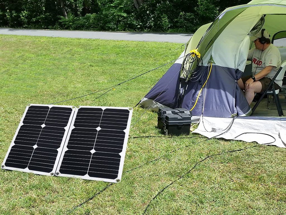 Solar charger outside of a camping tent