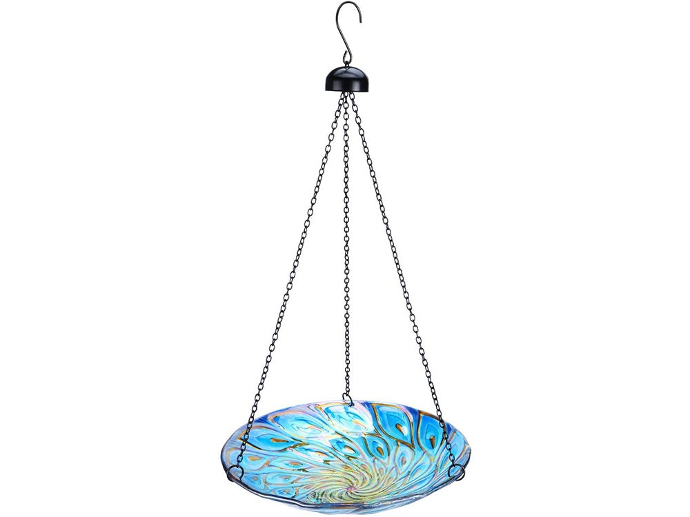 MUMTOP 11-inch Hanging Bird Bath Glass Bird Bath