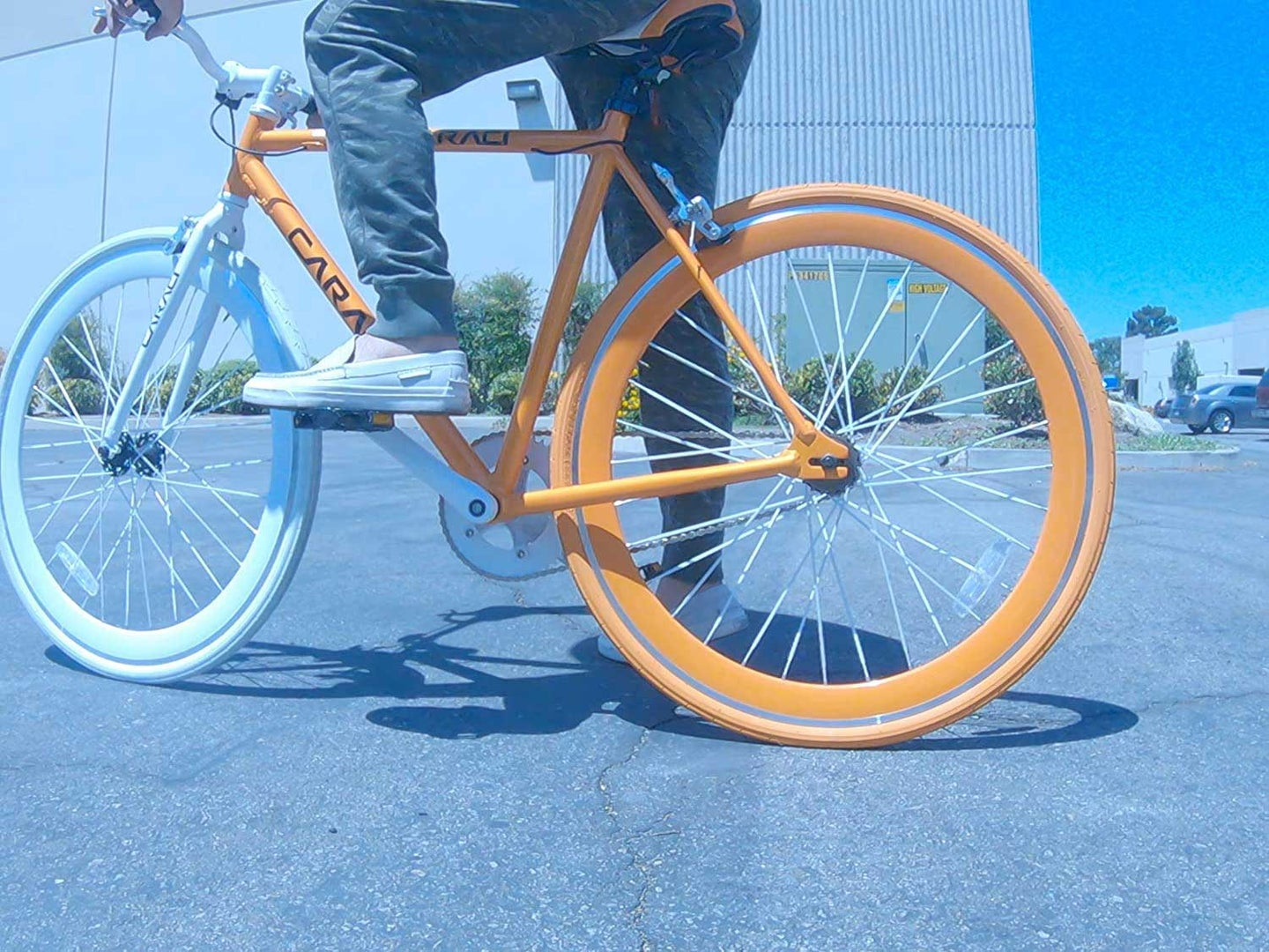 Because the chain, gear, and wheel are directly connected without gears, a fixed-gear bike can't coast.