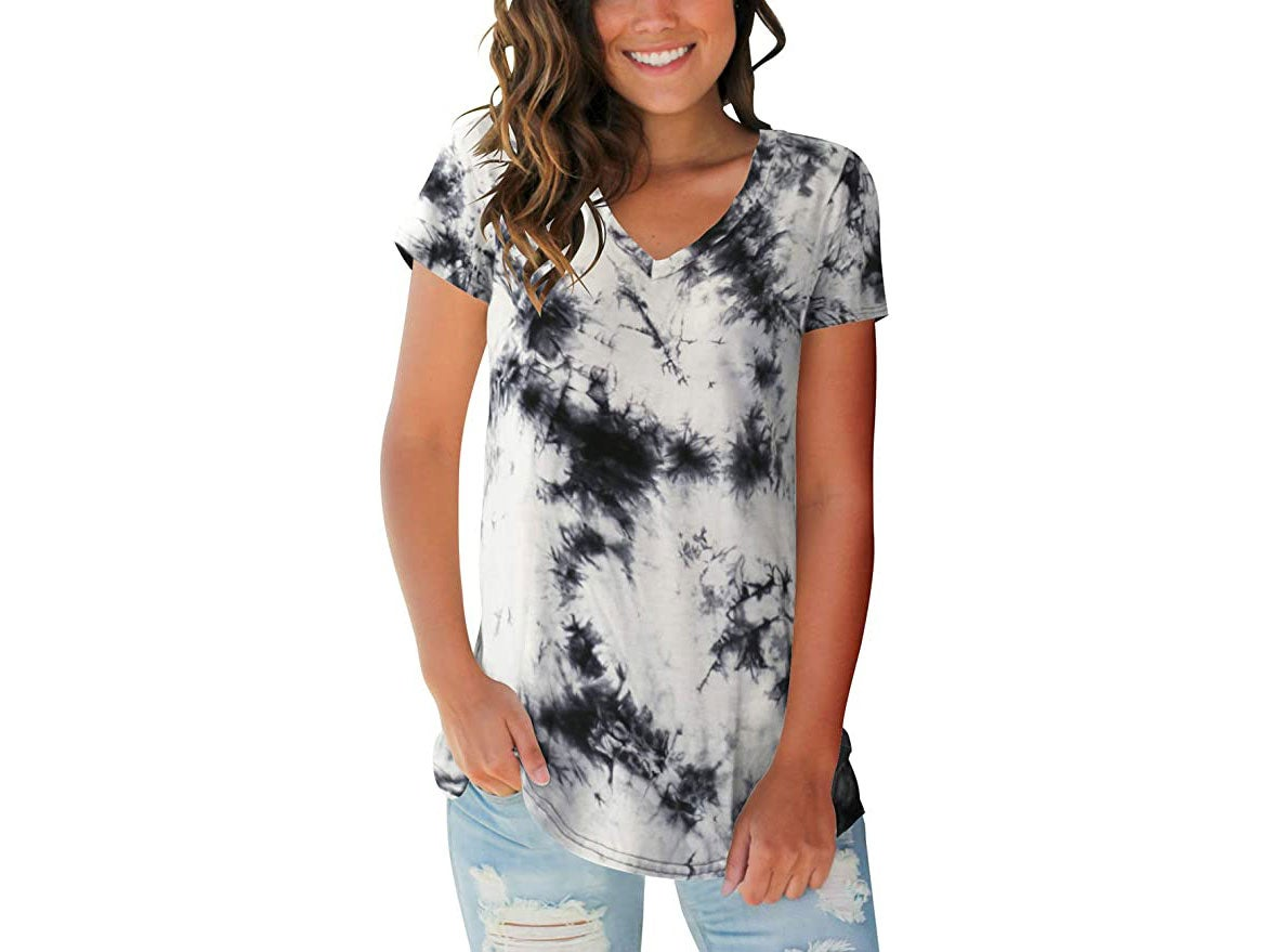 Womens tie-dye V Neck Tee Casual Short Sleeve and Long Sleeve T Shirts