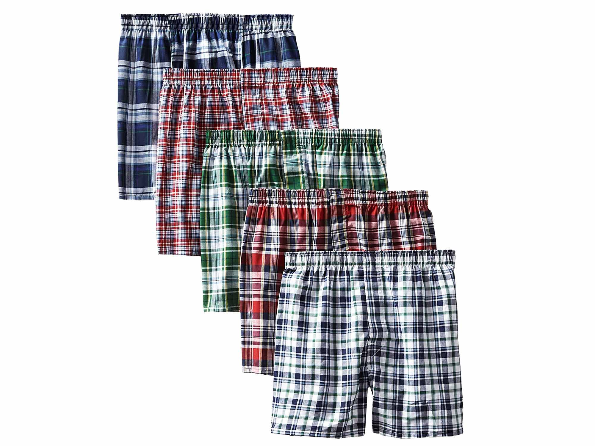 Hanes Men's 5-Pack Tartan Boxer with Inside Exposed Waistband