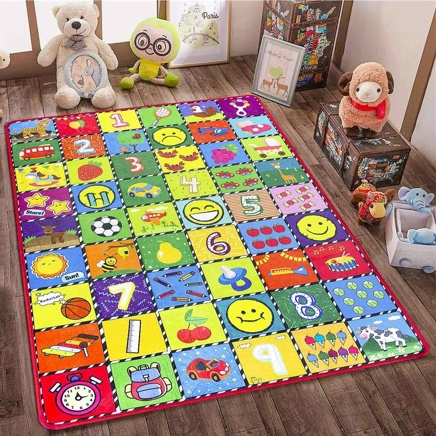teytoy Baby Rug for Crawling - How Many Are There? Kids Area Rugs Educational Play Mat for Room Decor