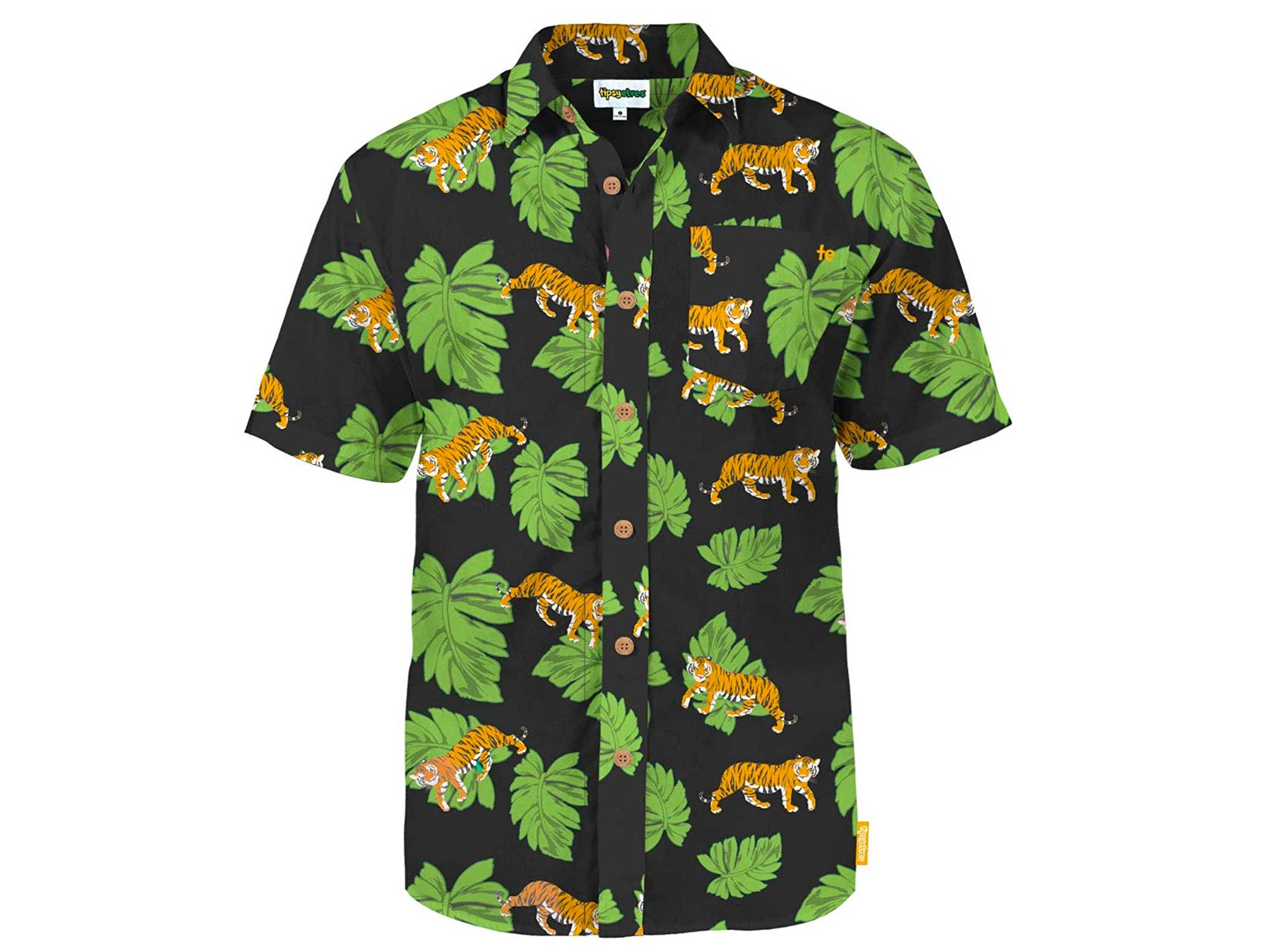 Tipsy Elves Men's Summer Tiger Pattern Button Down Shirts
