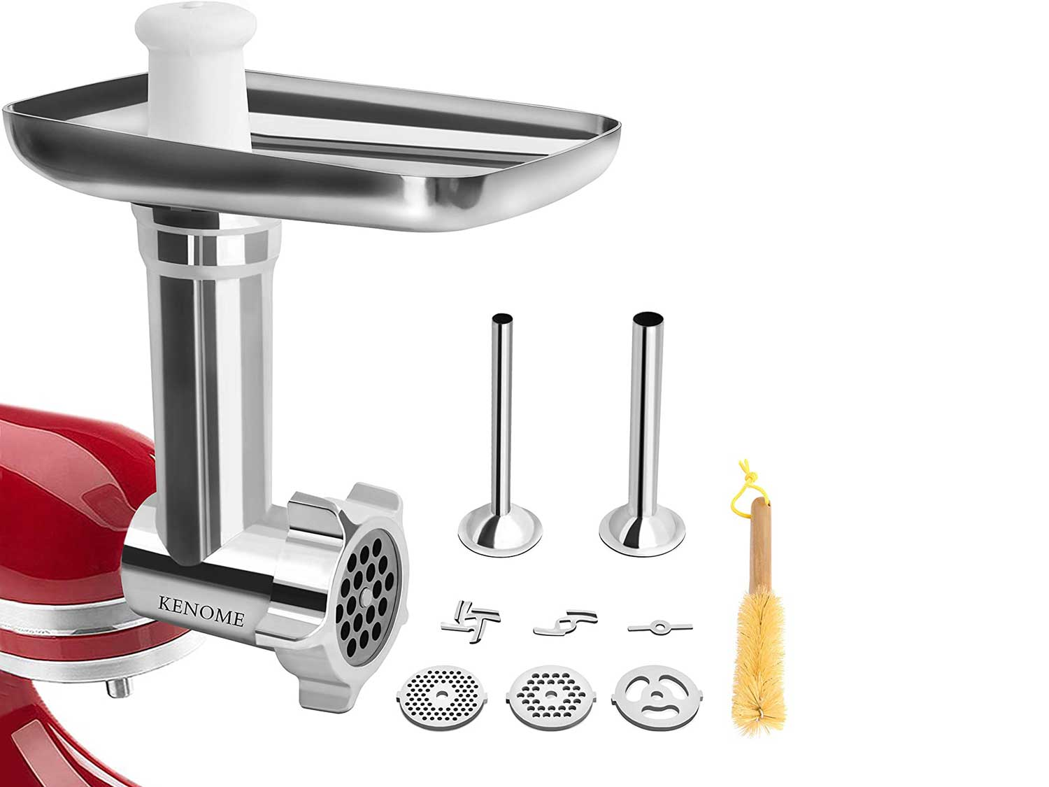 Metal Food Grinder Attachment for KitchenAid Stand Mixers Includes 2 Sausage Stuffer Tubes,Durable Meat Grinder Attachment for KitchenAid