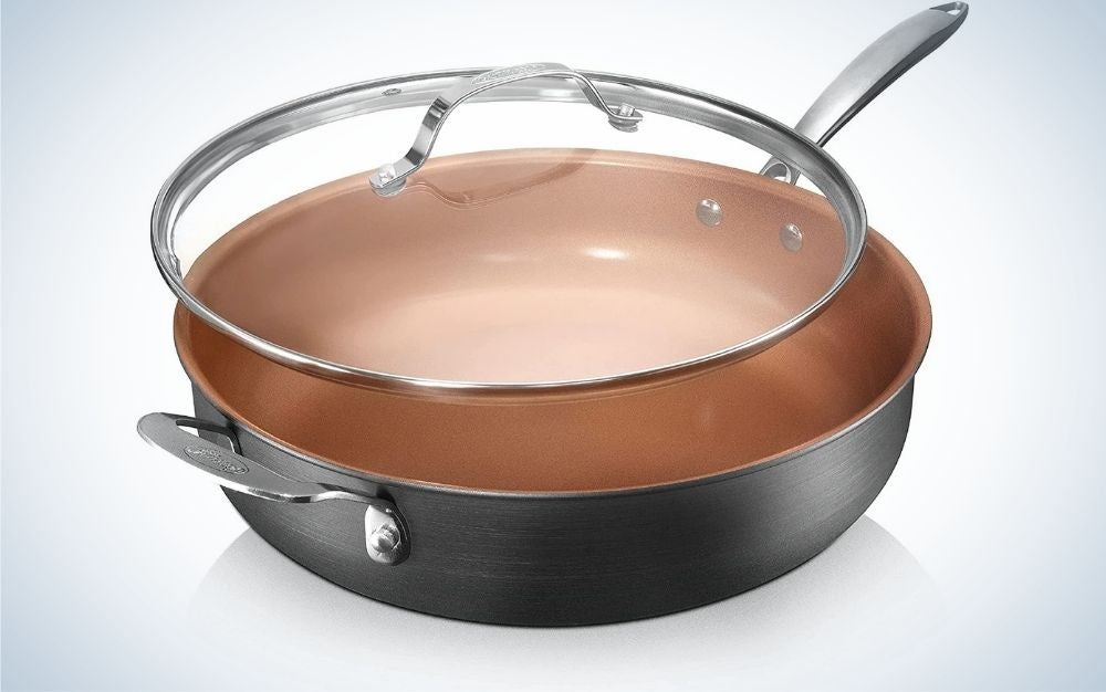 The Gotham Steel Nonstick Saute Pan with Lid is the best jumbo skillet.