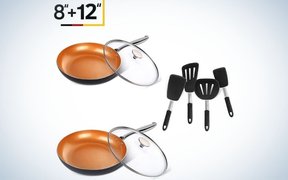 The Michaelangelo 8-inch and 12-inch Frying Pan Set is the best cookware set.