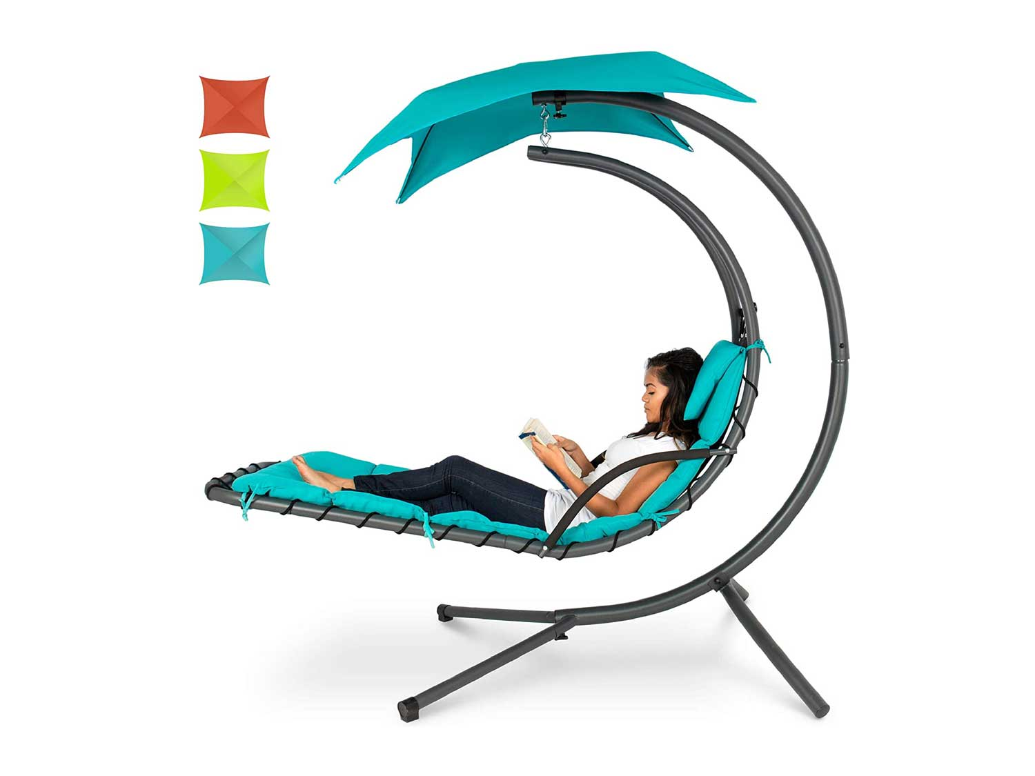 Best Choice Products Outdoor Hanging Curved Steel Chaise Lounge Chair Swing w/Built-in Pillow and Removable Canopy