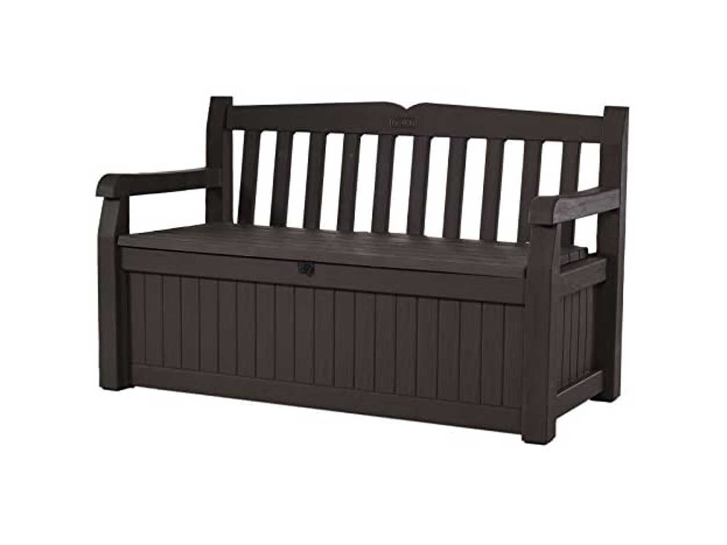 Keter Eden 70 Gallon Storage Bench Deck Box for Patio Furniture, Front Porch Decor and Outdoor Seating – Perfect to Store Garden Tools and Pool Toys