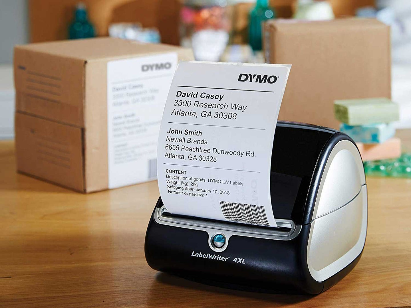 DYMO label maker on boxes
