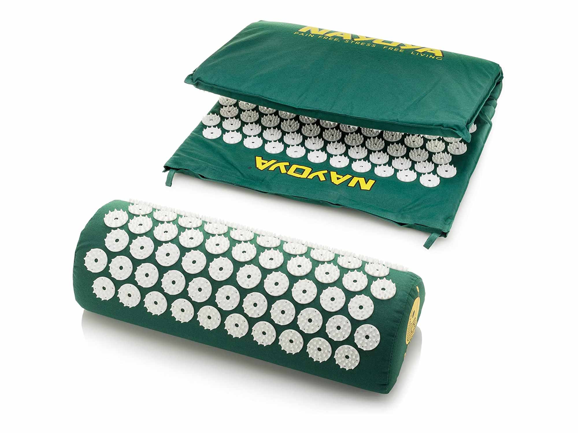 At Home Back and Neck Pain Relief - Acupressure Mat and Neck Pillow Set