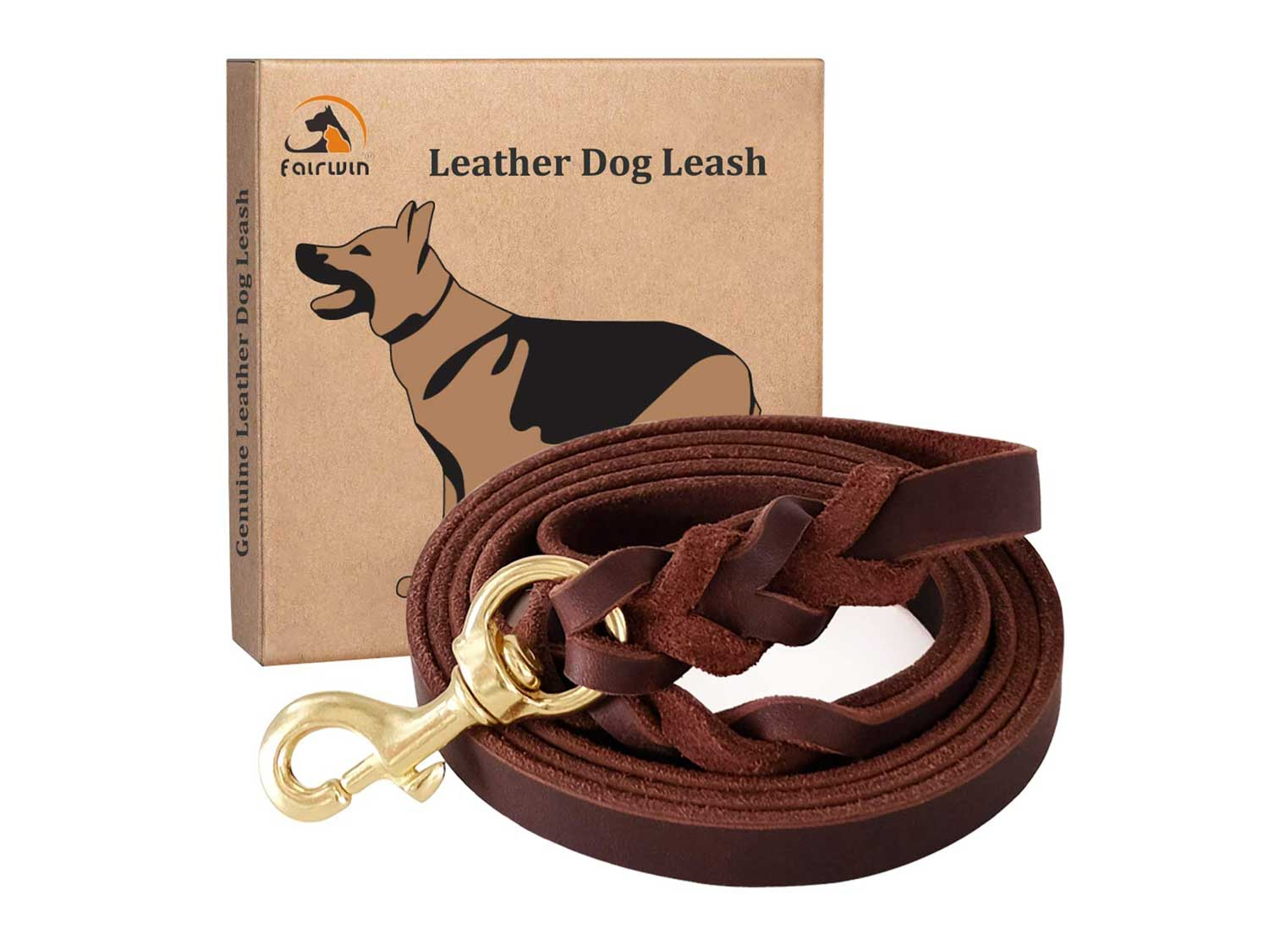 Fairwin Leather Dog Leash 6 Foot - Braided Best Military Grade Heavy Duty Dog Leash for Large Medium Small Dogs Training and Walking