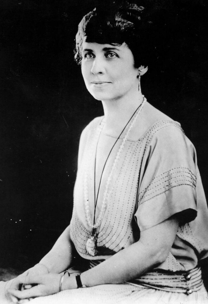 circa 1930: Grace Coolidge (1879 - 1957), nee Grace Goodhue, wife of Calvin Coolidge, the 30th President of the United States of America, who she married in 1905.