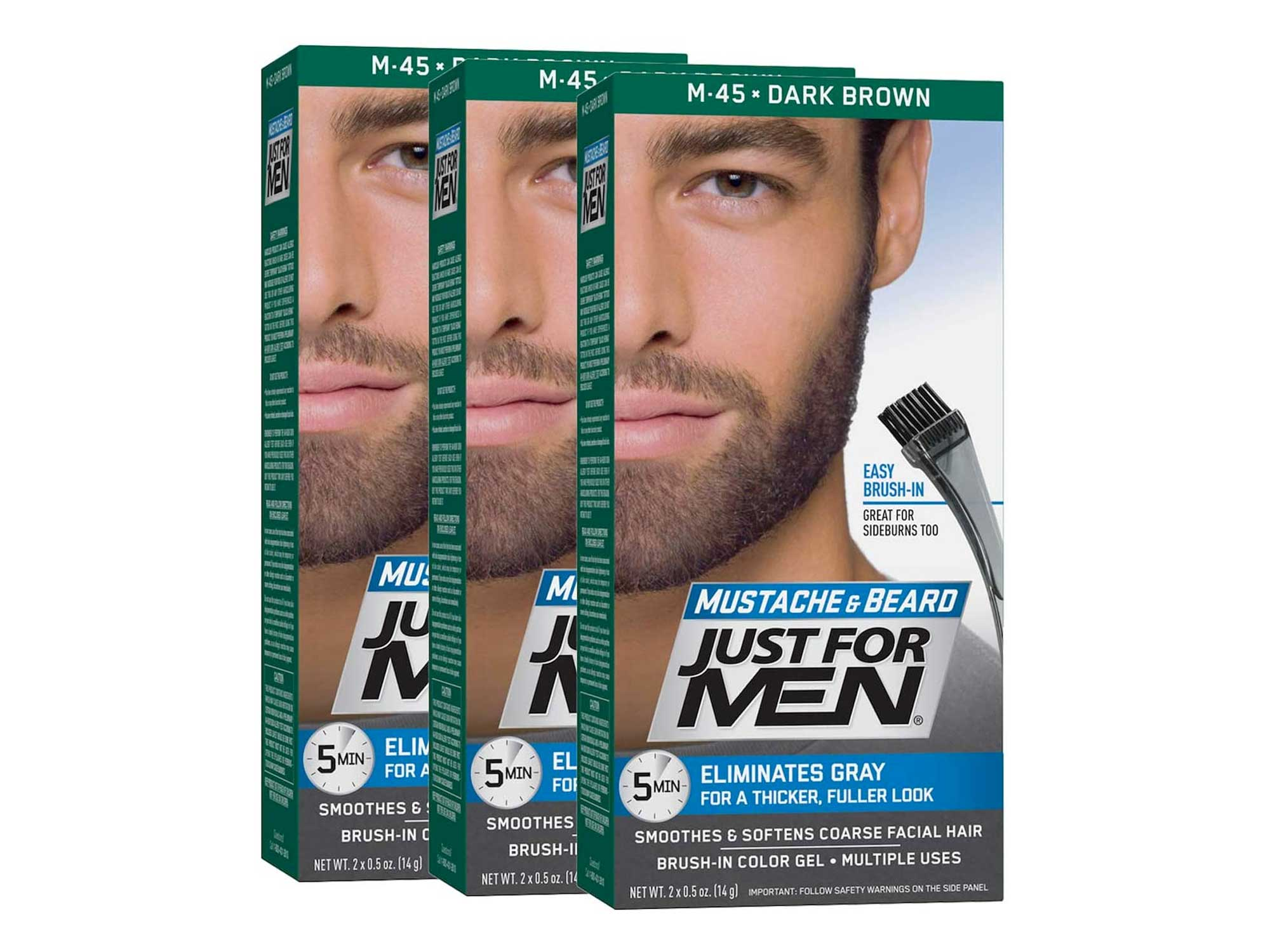 Just For Men Mustache & Beard, Beard Coloring for Gray Hair with Brush