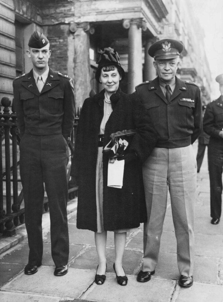 General Dwight Eisenhower with his wife Mamie and son.