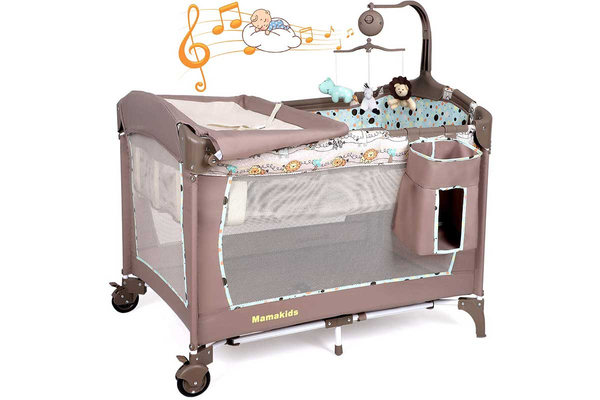 Foldable travel cot with bassinet, changing table, carrying bag