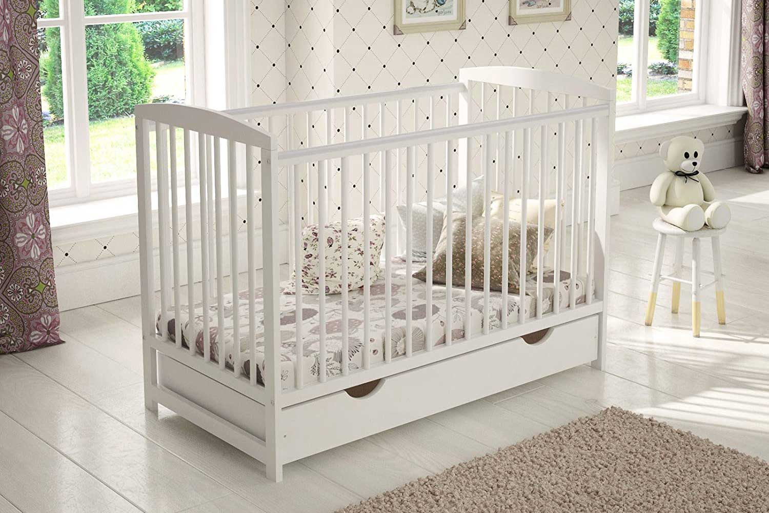 Wooden Baby Cot with Drawer + Foam Mattress + Teething Rails