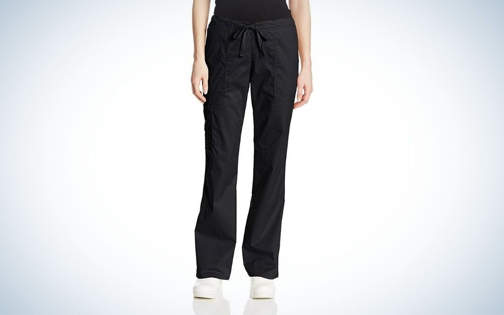 The Cherokee Women's Workwear Cargo Scrub Pants are the best scrubs that are stretchy.
