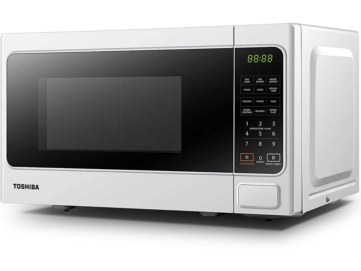Toshiba Microwave Oven MM-EM20P(WH) 20L Digital 800W, 6 Preset Recipes, Procedural Memory, Auto Defrost, Solo Microwave Oven for Standard Size of Dinner Plate, Digital Display, Modern Finish – White