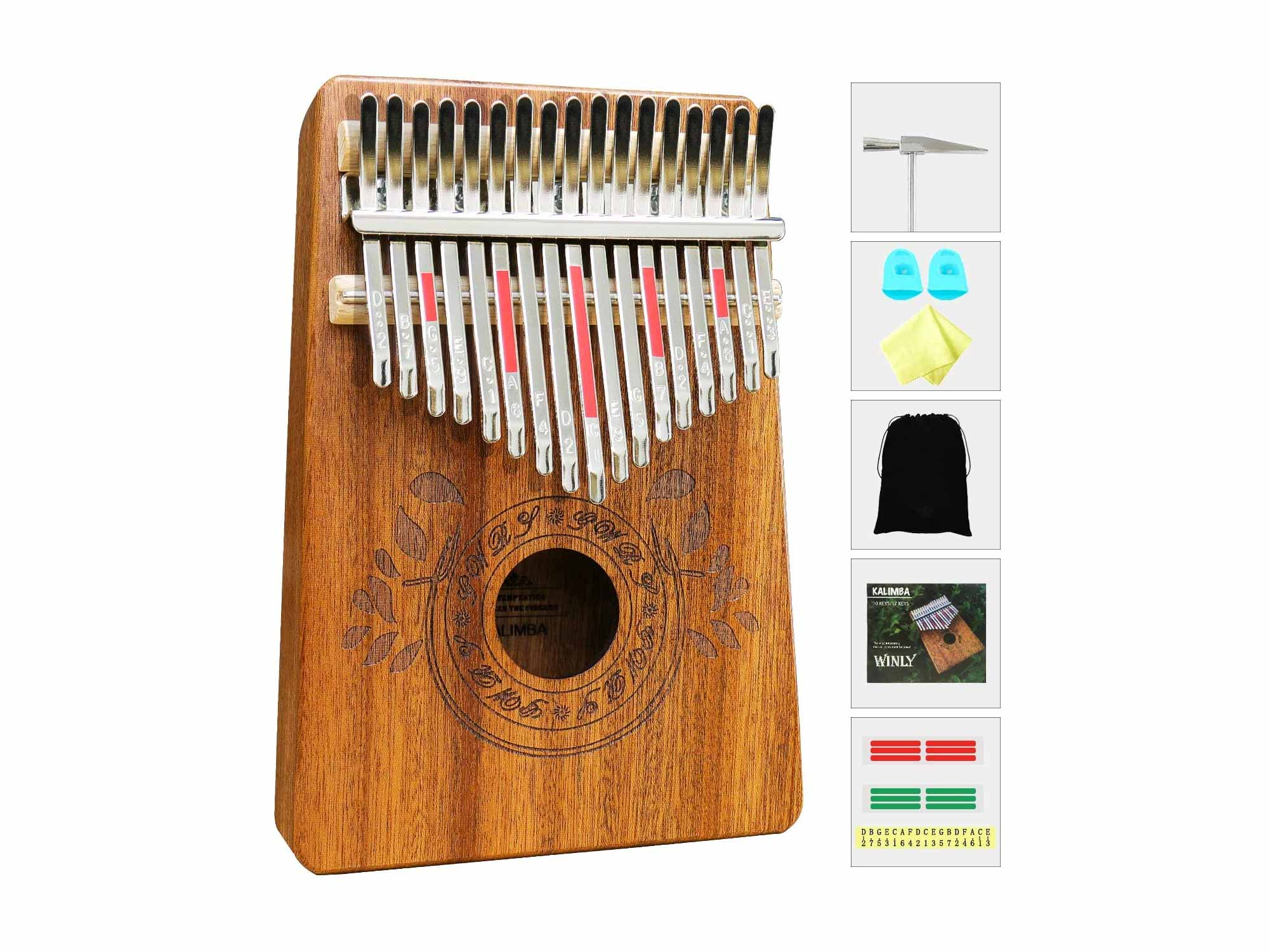 UNOKKI Kalimba 17 Keys Thumb Piano with Study Instruction and Tune Hammer, Portable Mbira Sanza African Wood Finger Piano, Gift for Kids Adult Beginners Professional