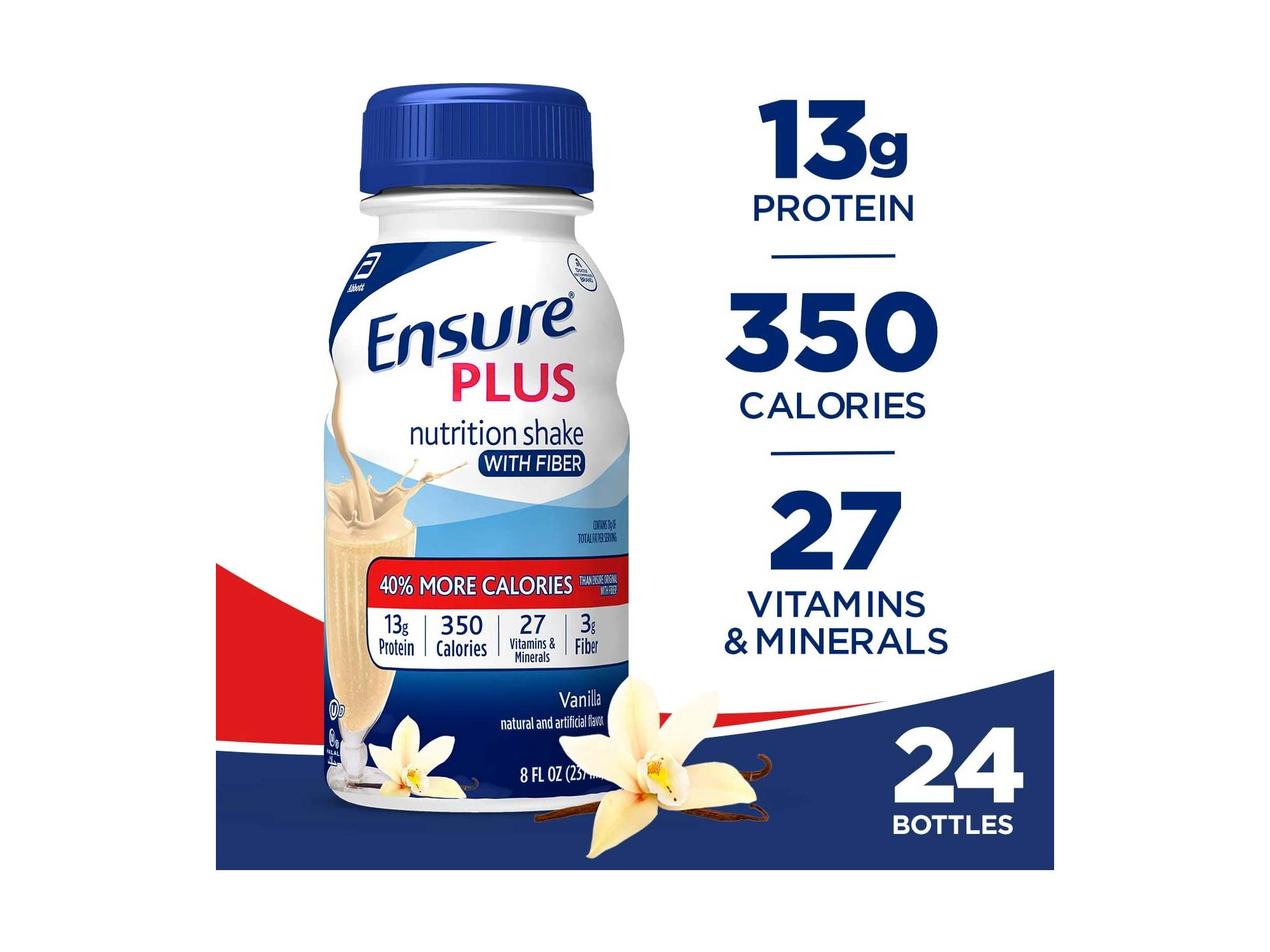 Ensure Plus Nutrition Shake with Fiber, 13g High-Quality Protein