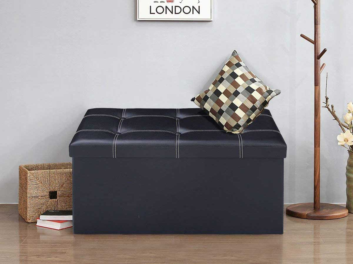 COSTWAY Folding Storage Ottoman, 2-seater Faux Leather Bench with 300kg Capacity, Easy to Clean, Waterproof Smooth Surface, Versatile Space-saving Bed Stool, 76 x 38 x 38CM (Black)