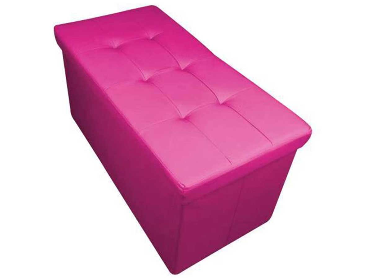 HomeHarmony® Quilted Top Folding Storage Ottoman Seat, Stool, Toy Storage Box Faux Leather (F Pink, Large)